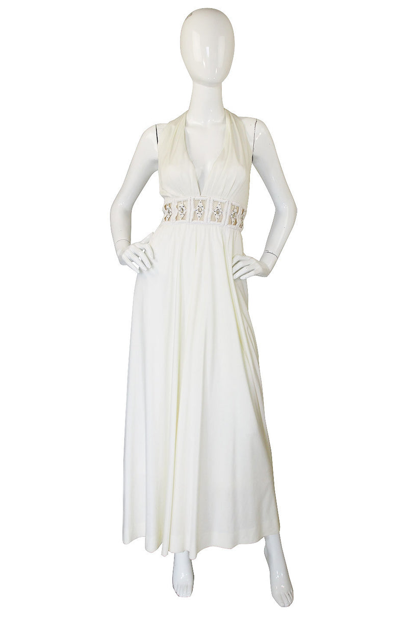 1960s Fred Perlberg White Maxi Dress