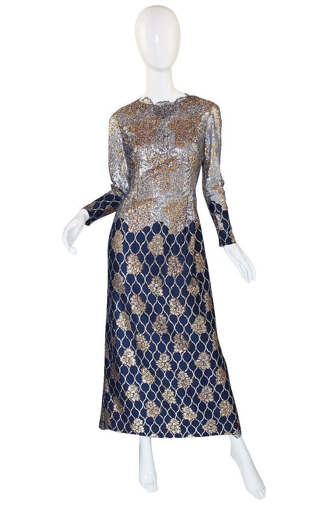 1960s Metallic Lace Pauline Trigere Gown