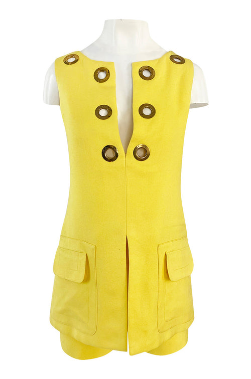 1960s Pierre Cardin Couture Bright Sunny Yellow Tunic & Hot Pant w Open Metal Grommets