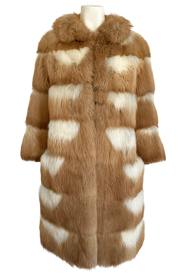 Custom Made c.1968- 1972 Christian Dior Two Toned Caramel & Cream Fluffy Sheepskin Fur Coat