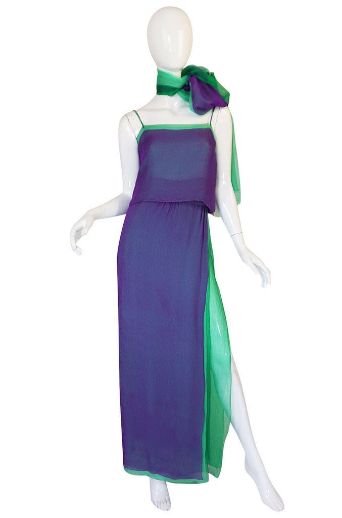 1970s Pauline Trigere Purple & Green Silk Chiffon Set