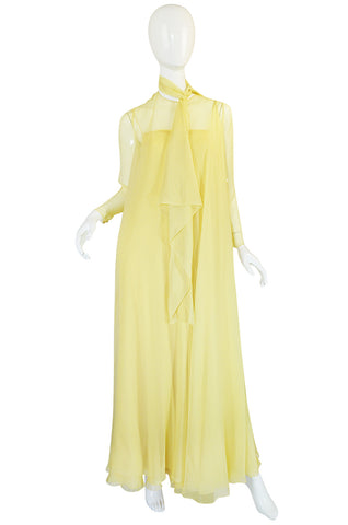 1970s Yellow Silk Chiffon Stavropoulos Caftan Dress