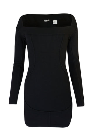 F/W 1990 Azzedine Alaia Fitted Knit Dress w Wide Neck Detail