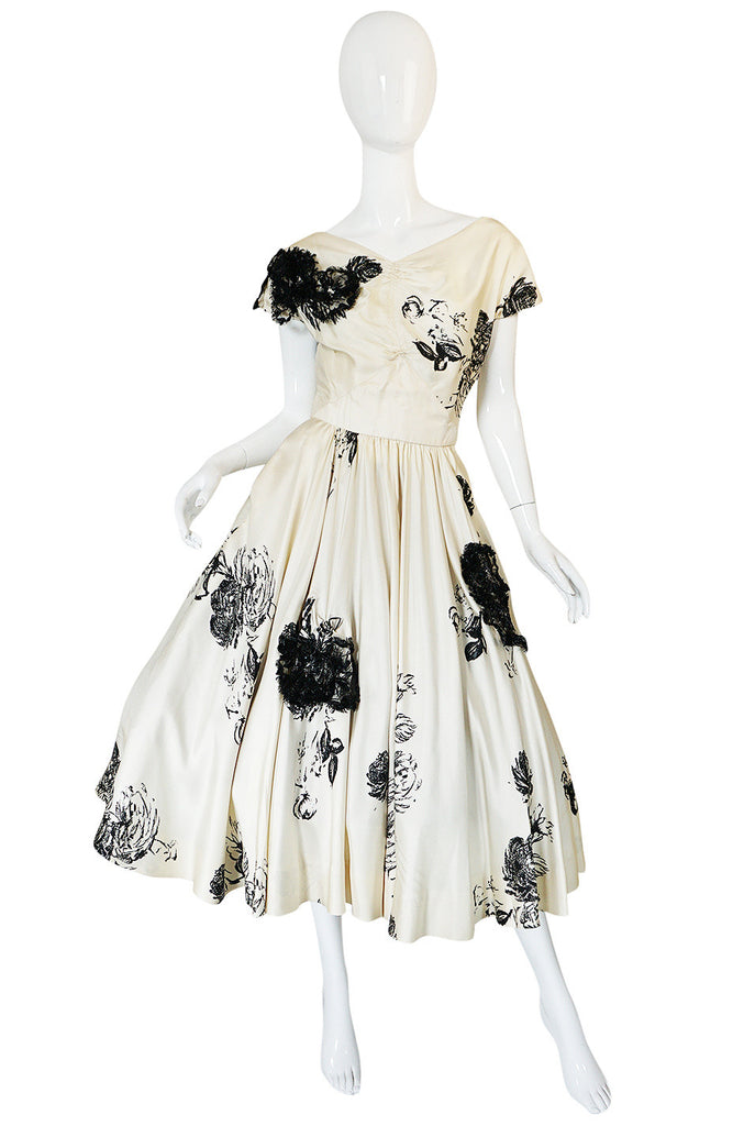 1950s Cream Silk Twill Dress with Applique & Black Rose Print