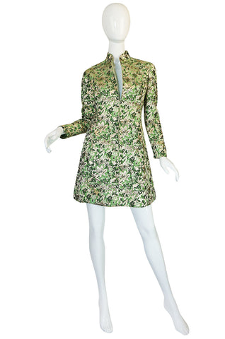 1960s Ceil Chapman Green Metallic Silk Brocade Mini Dress