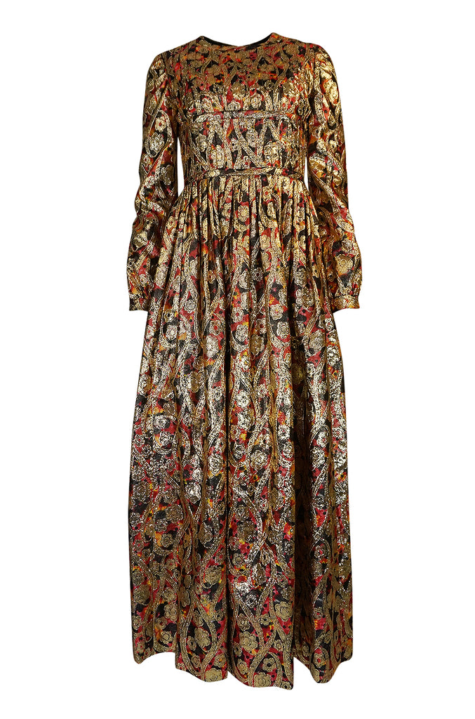 1960s Pat Sandler Metallic Gold & Coral Floral Print Full Length Dress