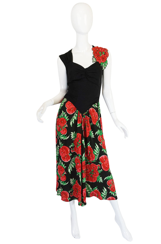 1940s Silk Crepe Padded Roses Floral Swing Dress