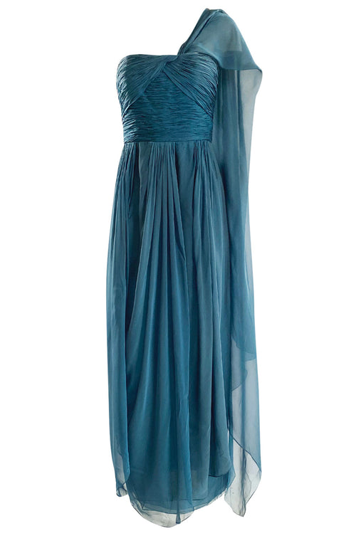 Early 1990s Oscar de la Renta Deep Teal Blue Silk Chiffon Custom Made Dress