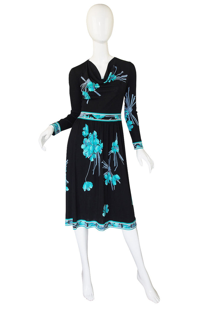 1970s Leonard Paris Printed Silk Jersey Dress