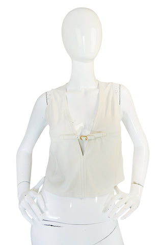 Rare 1970s Gucci Cream Buckskin Suede V Neck Crop Top