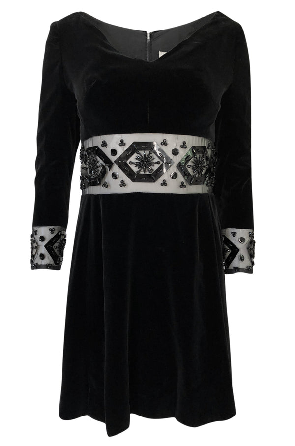 1967 Jacques Heim Couture Bead & Transparent Panel Velvet Dress