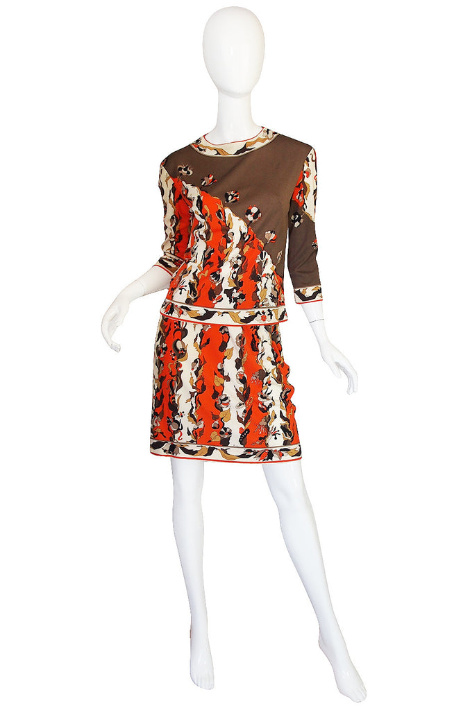 1960s Coral Print Silk Jersey Pucci Skirt & Top Set