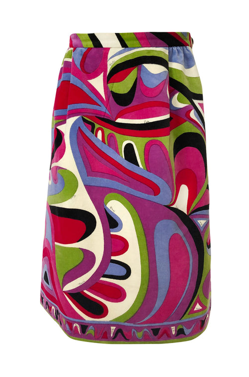 1960s Emilio Pucci Swirling Pink & Lavender Print Cotton Velvet Skirt - 25% OFF TAKEN AT CHECKOUT