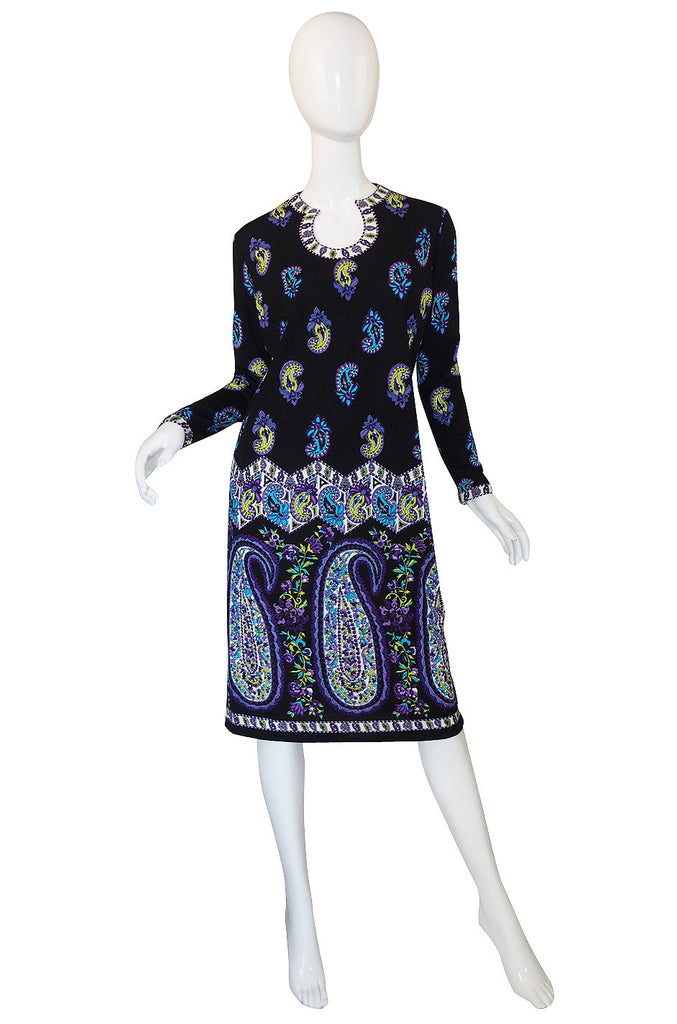 1960s Pretty Mr Dino Print Jersey Dress