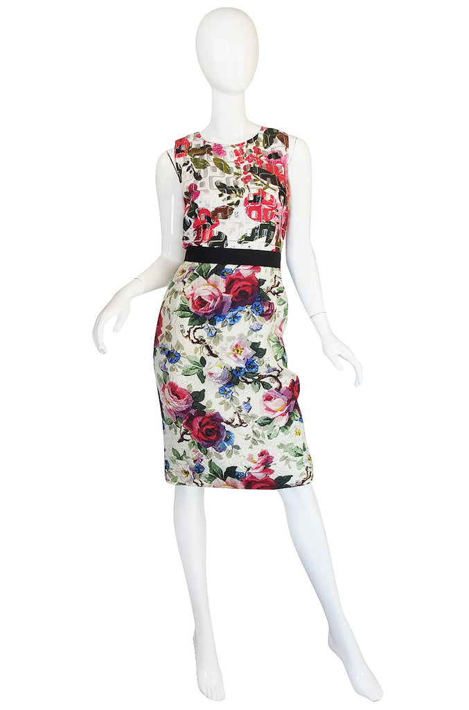 Recent Dolce & Gabbana Fitted Floral & Metallic Dress