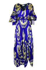 "Recent Zazi Vintage Silk Ikat ""Madhu"" Bliue & Gold Caftan Dress"