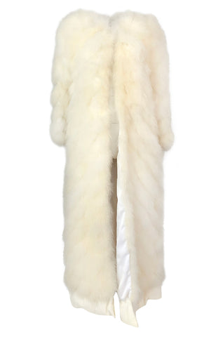 1970s Saks SFAntastic Ivory & Pale Yellow Down Feather Maxi Coat