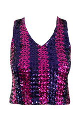 Fabulous 1973 Biba Purple and Pink Sequin Knit Jumper Pull-over Vest Top - 25% OFF TAKEN AT CHECKOUT