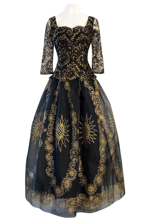 Spring 1982 Zandra Rhodes 'The Fairy Collection' Hand Painted Metallic Gold Lace & Silk Dress