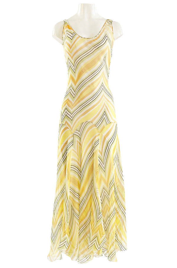 1990s Christian Dior by John Galliano Chevron Stripe Yellow Bias Cut Silk Chiffon Dress