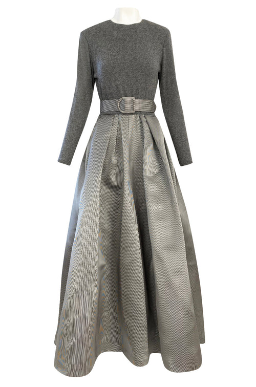 1980s Oscar de la Renta Soft Grey Cashmere & Striped Silk Skirt Dress w Matching Shawl