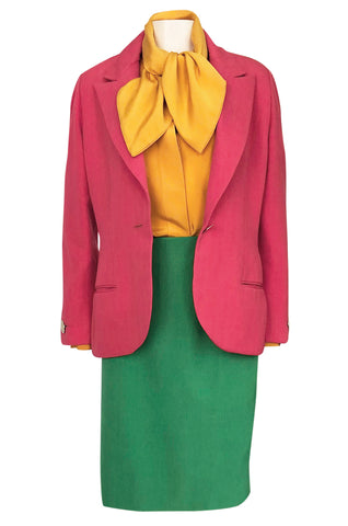 Colorful 1980s Bill Blass Three-Piece Suit in Salmon Pink, Green & Yellow