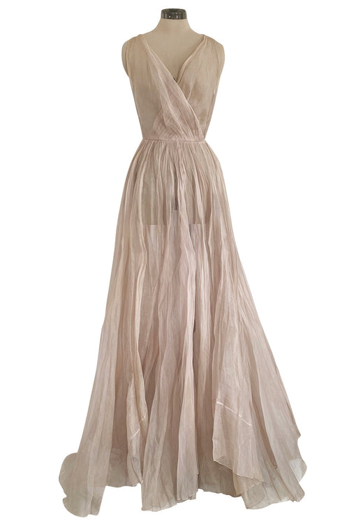 Rare Late 1940s Jacques Fath Pale Nude Silk Organza Dress w Full Skirt & Plunge Front