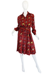 "1970s Rare Gucci Silk ""Pheasant"" Print Shirt & Skirt Set"