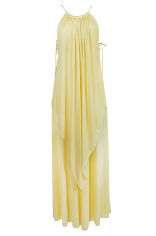 1970s Unlabeled Light Yellow Jersey Layered & Tiered Halter Dress