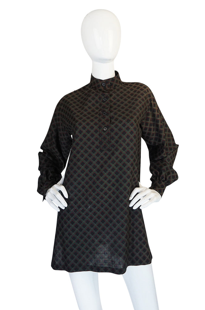 1970s Yves Saint Laurent Printed Challis Tunic Top