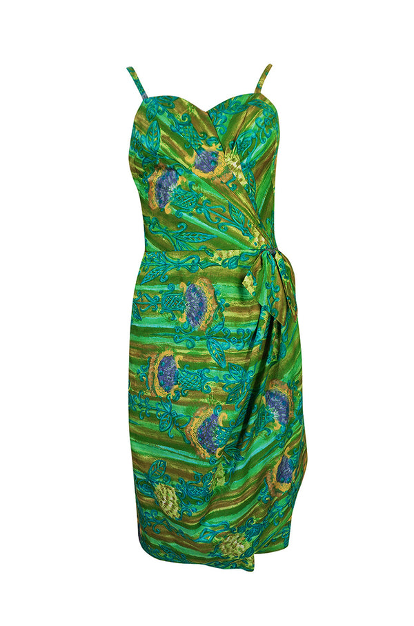 1950s Mildreds of Hawaii Green & Blue Print Cotton Summer Dress