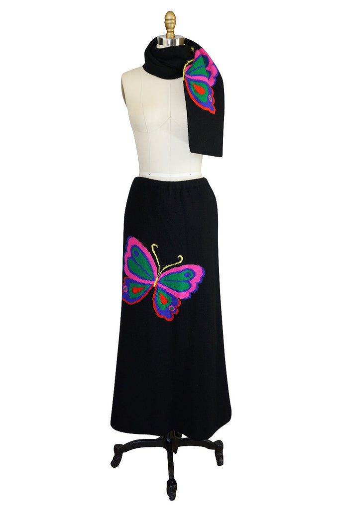 1970s Hanae Mori Knit Butterfly Skirt & Scarf