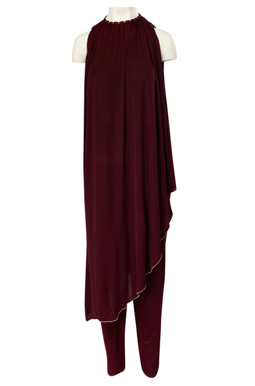 1970s Holly's Harp Deep Burgundy & Gold Silk Jersey Dress w Harem Pant Set