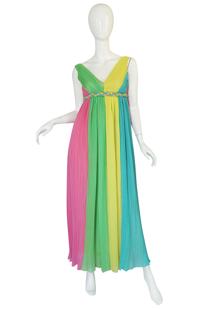 1960s Saks Sarafina Multi Color Pleated Chiffon Dress