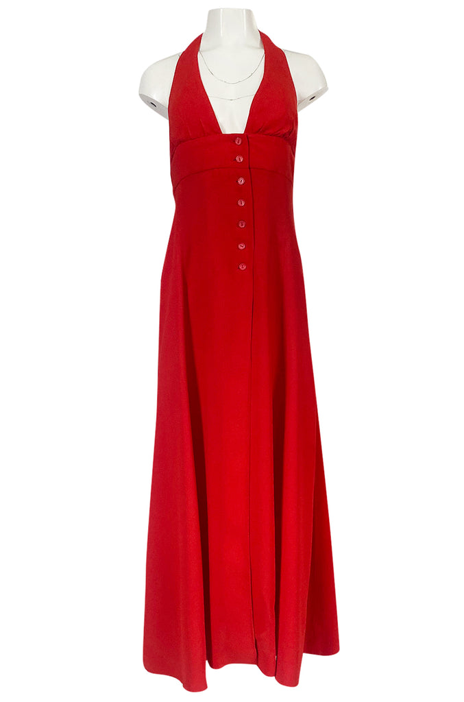 Iconc 1970s Ossie Clark Red Moss Crepe Button Front Halter Dress