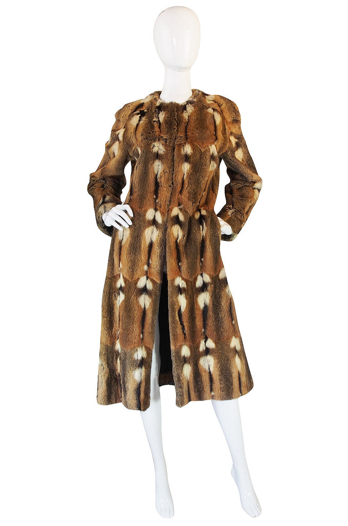 1960s Reversible Piecework Leather and Fur Coat