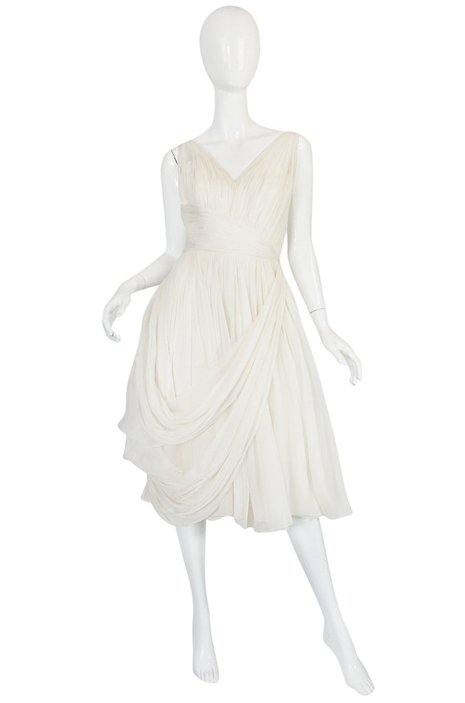 1950s Ivory Silk Pleated Dress in the Manner of Jean Desses