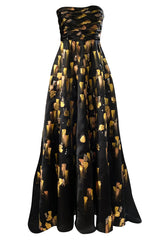 Fall 2008 Oscar De La Renta Strapless Hand Painted Gold & Black Silk Dress