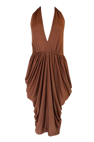 1970s Plunge Front Backless Halter Gathered Sides Jersey Dress