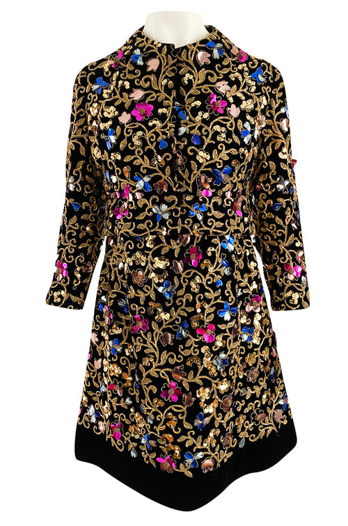 1960s Arnold Scaasi Couture Gold Cording, Beading & Metallic Applique Dress Jacket Set