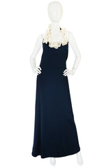 1960s Geoffrey Beene Boutique Navy Jersey Ruffle Dress