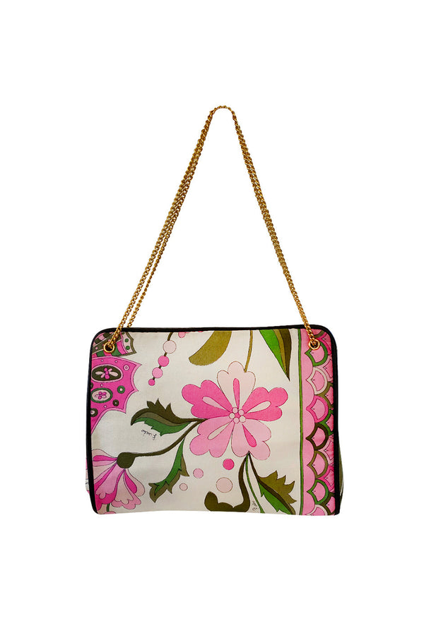 1960s Emilio Pucci Prettiest Soft Pink Floral Silk & Gold Chain Bag