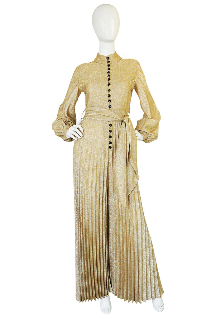 1970s Gold Lame Knit Jumpsuit