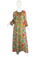 1960s Floral Metallic Print Gold Cord Caftan Dress