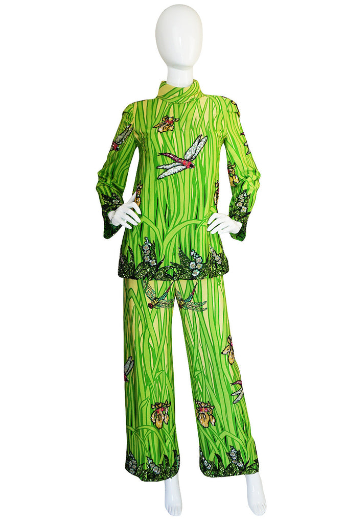 1960s Micheal Novarese Sequin Dragonfly & Flowers Silk Pant Suit
