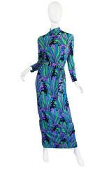 1970s La Mendola Beautifully Printed Silk Jersey Dress