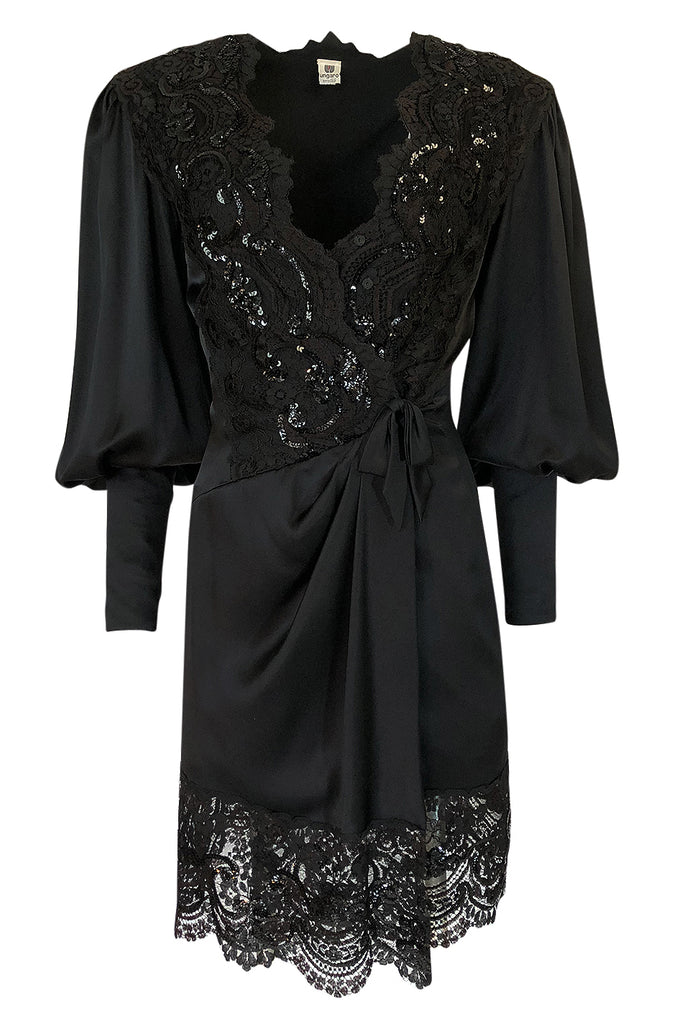 29f30f6c414a c.1988 Emanuel Ungaro Black Sequin Lace & Silk Satin Dress