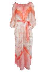 1970s Lillie Rubin Pink & Cream Tie Dye Silk Chiffon Dress