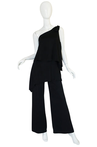 1970s Black Jersey One Shoulder Tiered Jumpsuit