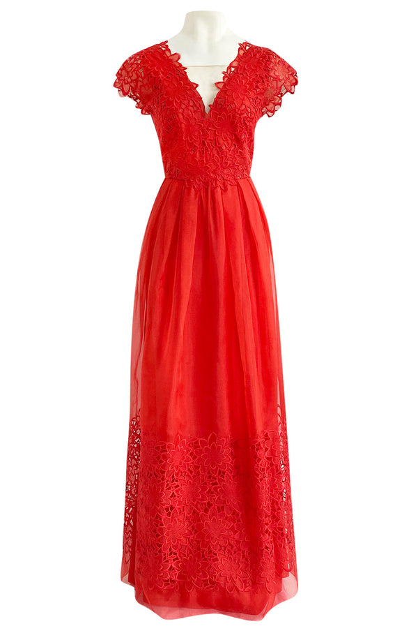 Resort 2015 Alberta Ferretti Red Silk Organza & Embroidered Lace Open Cut Work Dress